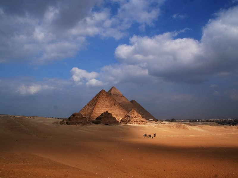 desert landscape with dunes and pyramid of cheops